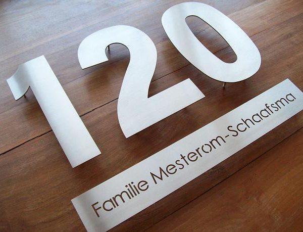 Huisnummer losse cijfers 3mm dik