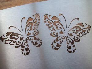 rvs naambord met vlinders