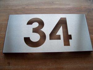 rvs huisnummerbord 34